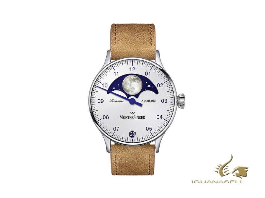 Meistersinger Lunascope Opaline Silver Automatic Watch, 40 mm, Day, LS901-SV03