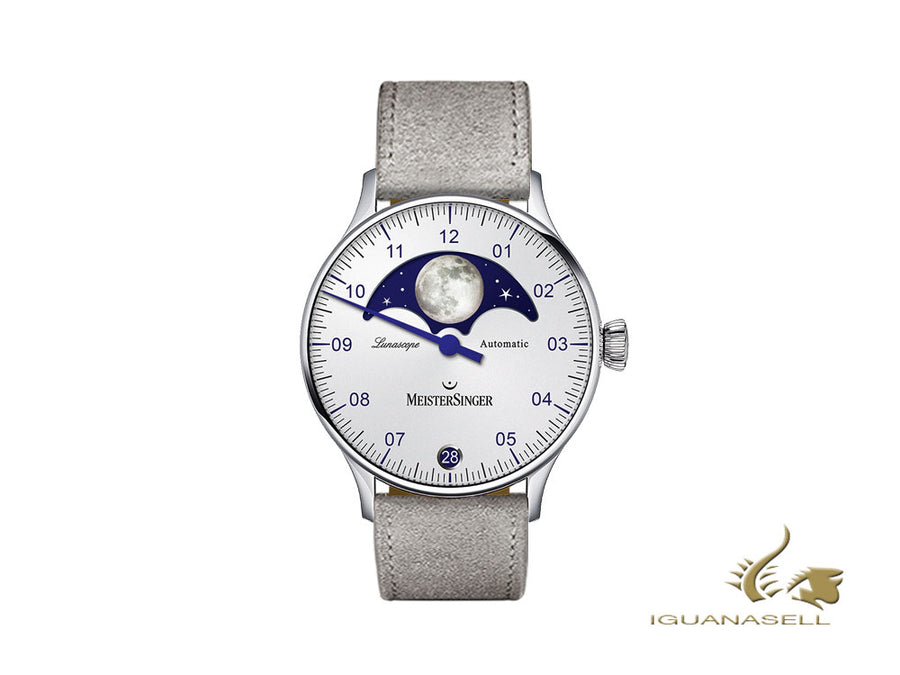 Meistersinger Lunascope Opaline Silver Automatic Watch, 40 mm, Day, LS901-SV06