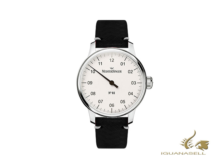 Meistersinger N1 - 40 mm Manual Watcg, Silver, 40 mm, Leather, DM301-SVSL01