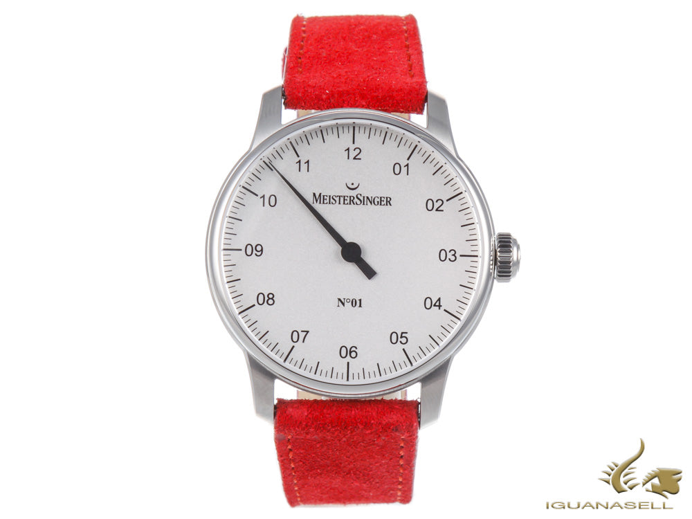 Meistersinger N1 - 40 mm Silver-White Manual Watch, Silver, Red, DM301-SV05