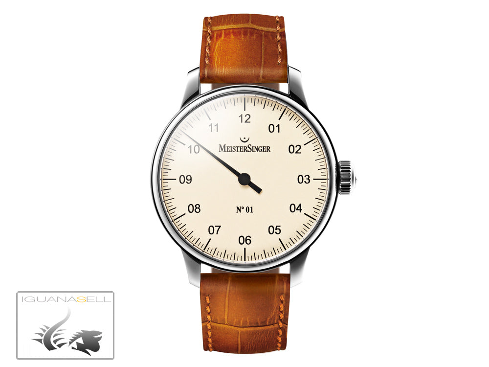 Meistersinger N1 Watch, Manual winding, ETA 2801-2, 43mm. Leather strap, AM3303