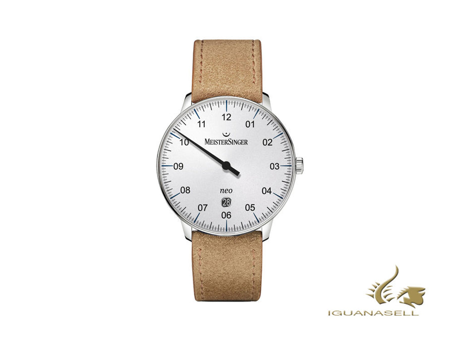 Meistersinger Neo Plus Automatic Watch, 40 mm, Silver, Cognac, Day, NE401-SV03