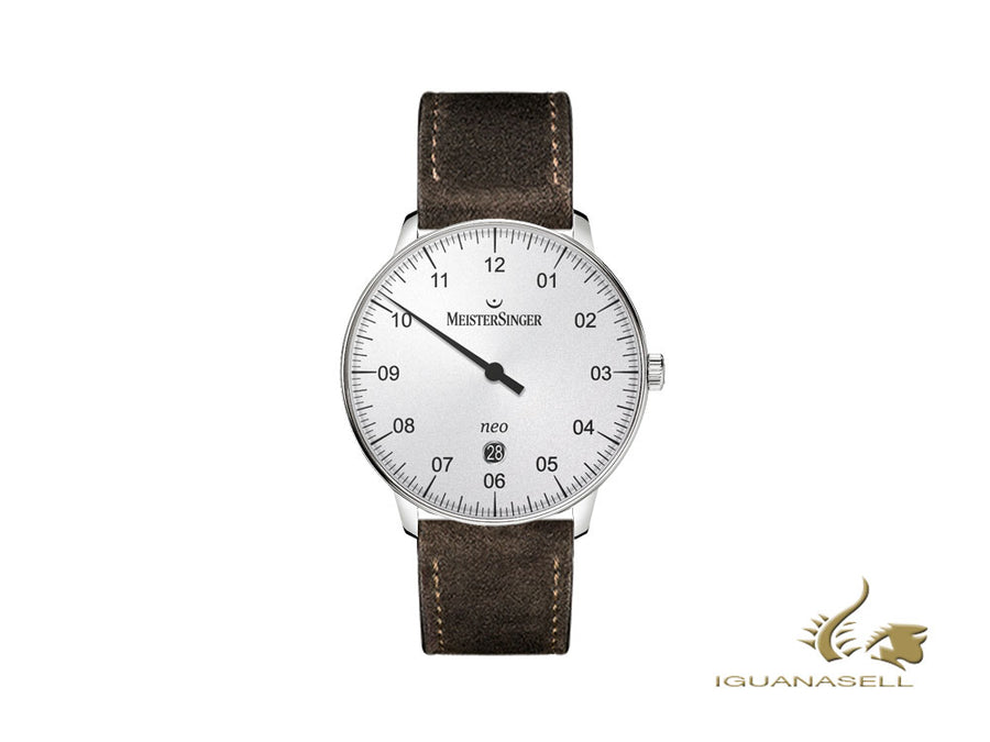 Meistersinger Neo Plus Automatic Watch, ETA 2824-2, 40mm, White/Brown