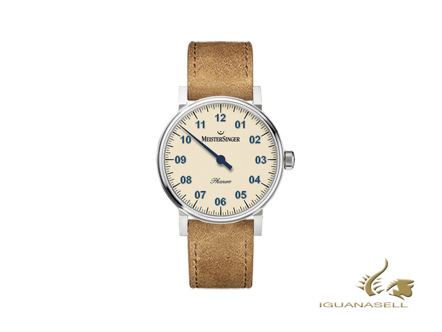Meistersinger Phanero Watch, Manual winding, SW 210, Ivory, Cognac, 35mm