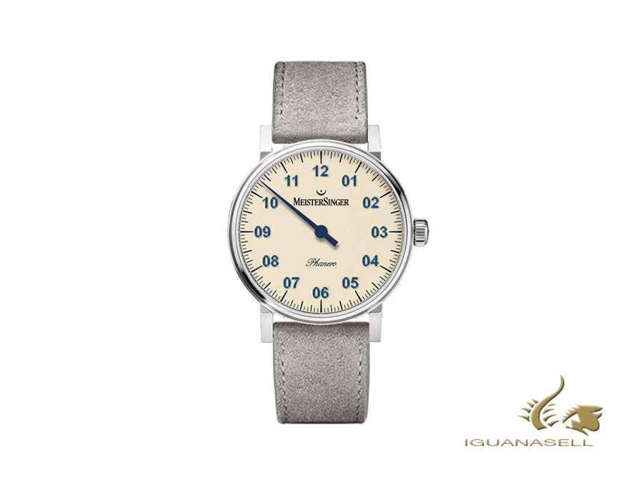 Meistersinger Phanero Watch, Manual winding, SW 210, Ivory, Grey, 35mm