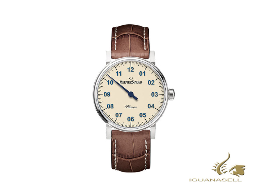 Meistersinger Phanero Watch, Manual winding, SW 210, Ivory, 35mm, PH303-SG02W