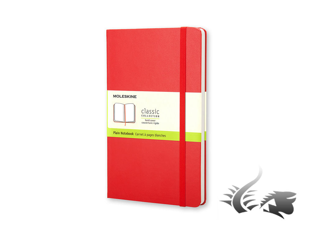 Moleskine Classic Hard cover Notebook, Large (13 x 21 cm), Plain, Red, 240 pages