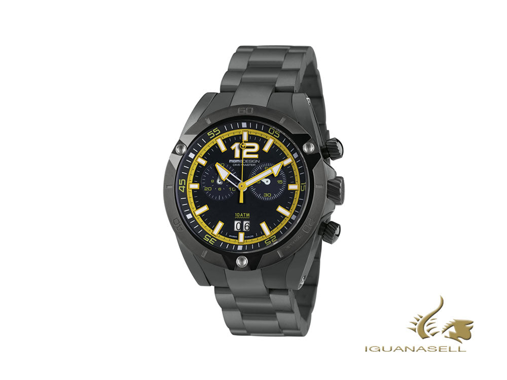 Momo Design Dive Master Crono Quartz Watch, Black/Yellow, 46 mm, MD282BK-30