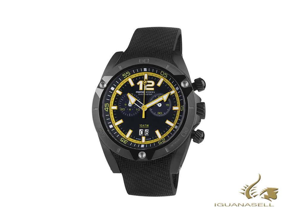 Momo Design Dive Master Crono Quartz Watch, Black/Yellow, 46 mm, MD282BK-31