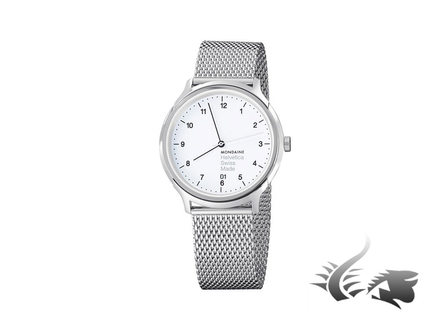 Mondaine Helvetica No1 Regular Quartz watch, polished stainless , White, 40mm