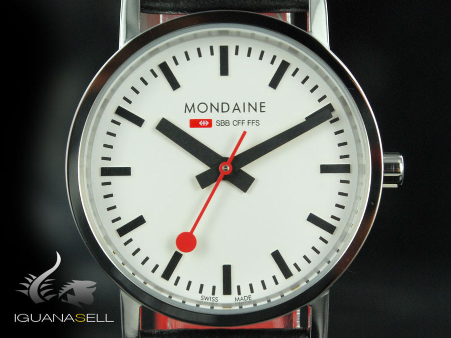 Mondaine SBB Classic Quartz watch, polished stainless , Mineral crystal, 30mm