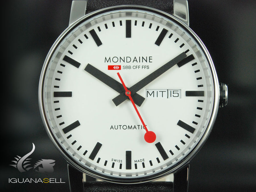 Mondaine SBB Evo Automatic Watch, White, 40mm, Day and date, A132.30348.11SBB