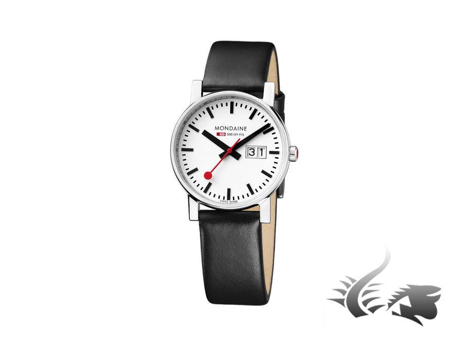 Mondaine SBB Evo Big Date Quartz watch, White, 30mm. A669.30305.11SBB