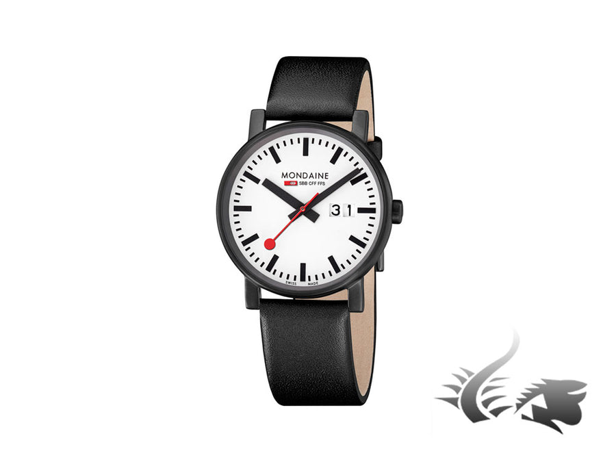 Mondaine SBB Evo Big Date Quartz watch, White, 40mm. A627.30303.61SBB