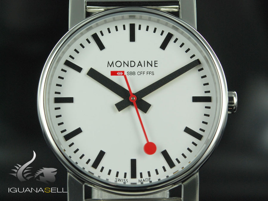 Mondaine SBB Evo Quartz watch, polished stainless , 35mm. A658.30300.11SBV
