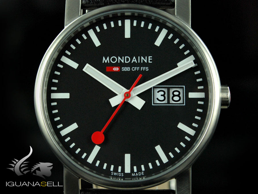 Mondaine SBB Evo Quartz watch, polished stainless , Black, 35mm
