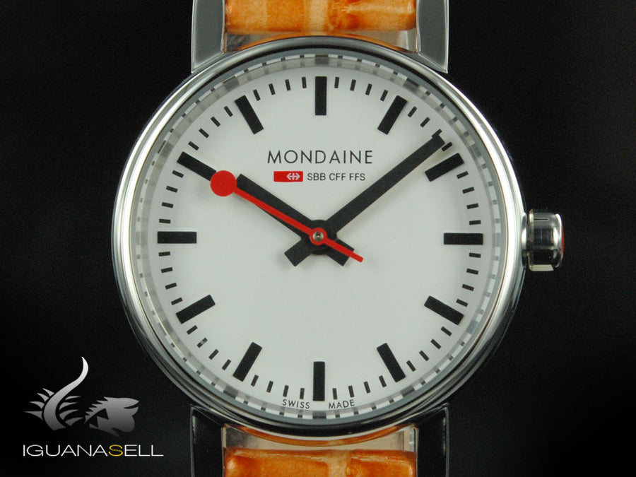 Mondaine SBB Evo Quartz watch, polished stainless , White, 26 mm