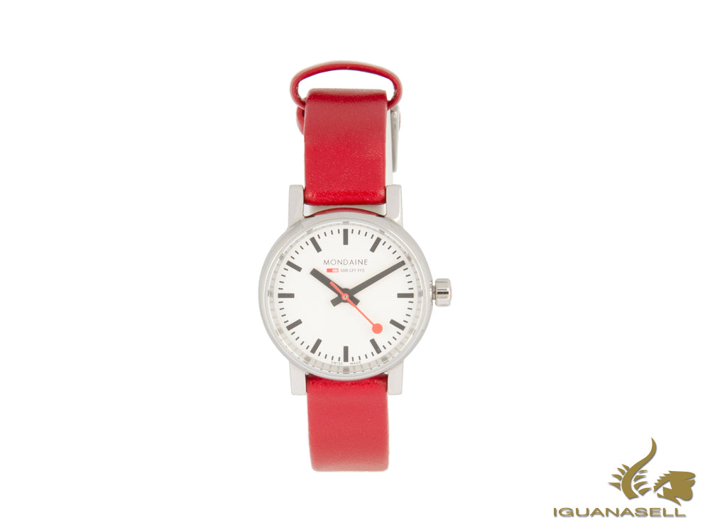 Mondaine SBB Evo2 Petite Quartz Watch, White, 26mm, Leather strap, MSE.26110.LC