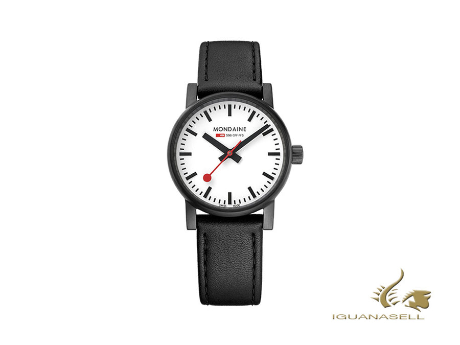 Mondaine SBB Evo2 Quartz Watch, PVD, White, 30mm, Leather strap, MSE.30111.LB