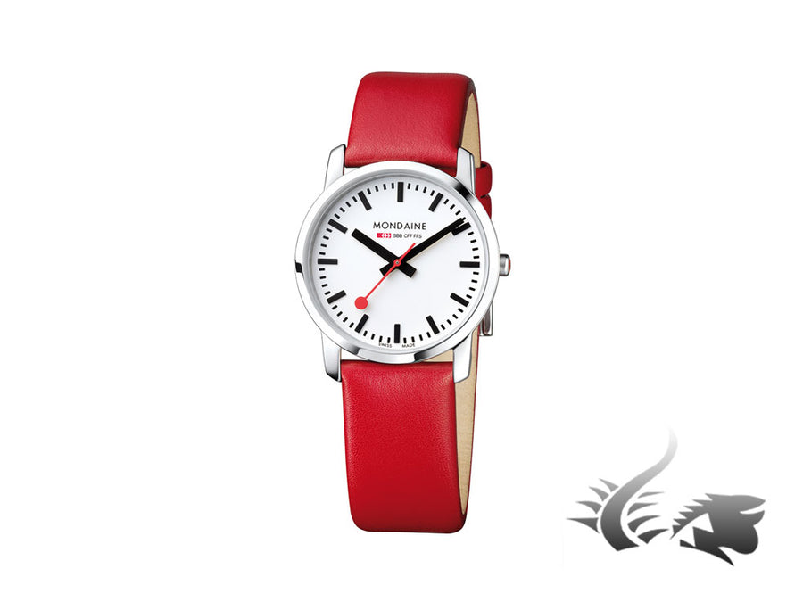 Mondaine SBB Simply Elegant Quartz watch, stainless, Red leather strap, 36mm
