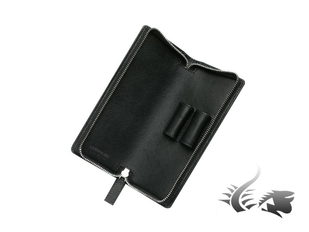 Montblanc Sartorial 2 Pen Case, Saffiano Leather, Soft, Zip, Black, 113236