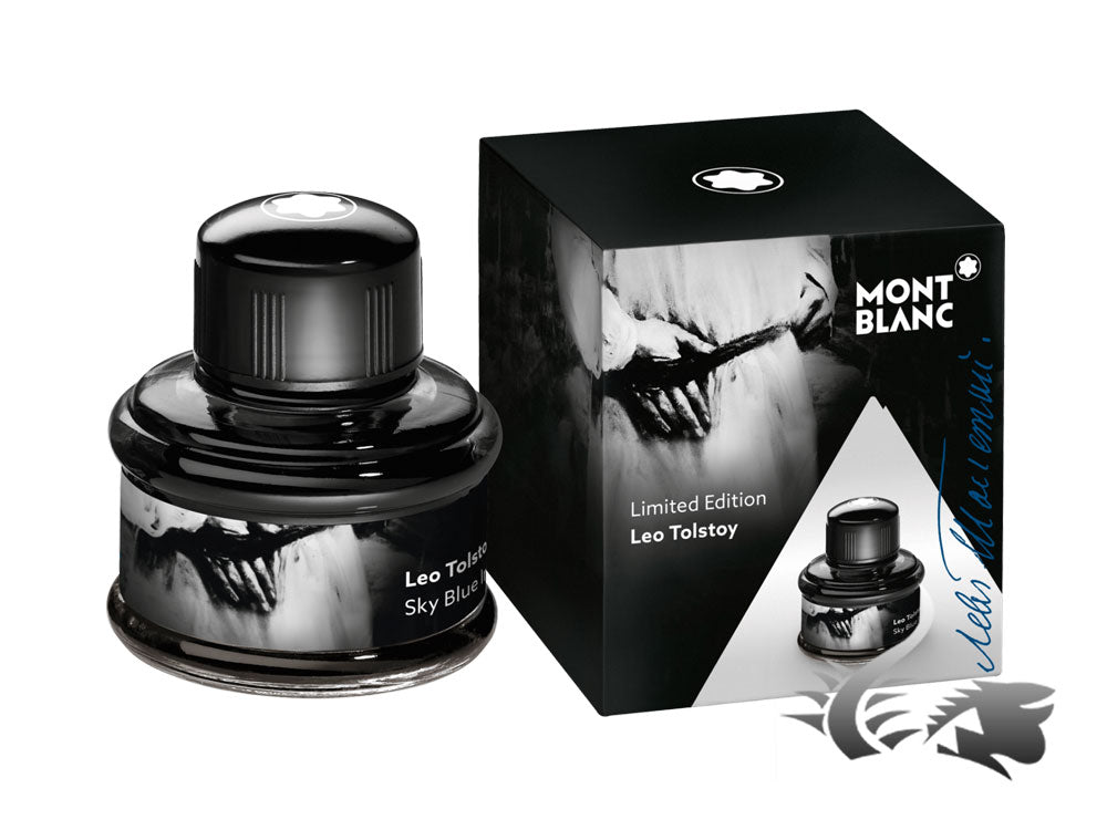 montblanc ink bottle leo tolstoy sky blue limited edition crystal