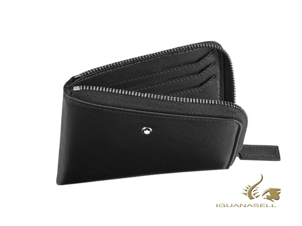 Montblanc Nightflight Credit card holder, Leather, Black, 6 Cards, Zip118282