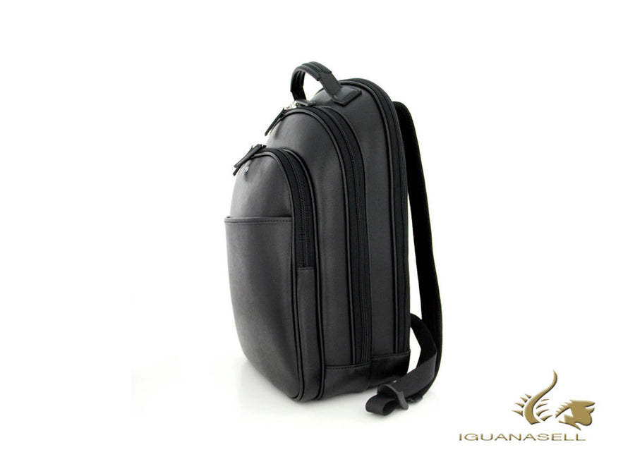 Montblanc Sartorial Backpack, Leather, Jacquard, Black, Zip, 39x28x17 cm