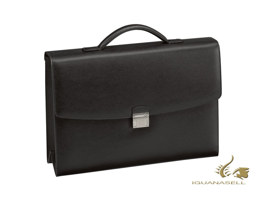 Montblanc Sartorial Briefcase, Leather, Jacquard, Black, With button, 113176