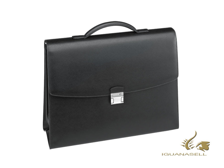 Montblanc Sartorial Briefcase, Leather, Jacquard, Black, 2 dividers, 113175