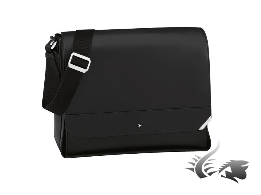 Montblanc Urban Spirit Messenger, Leather, Black, 1 division, Flap-over, 114658