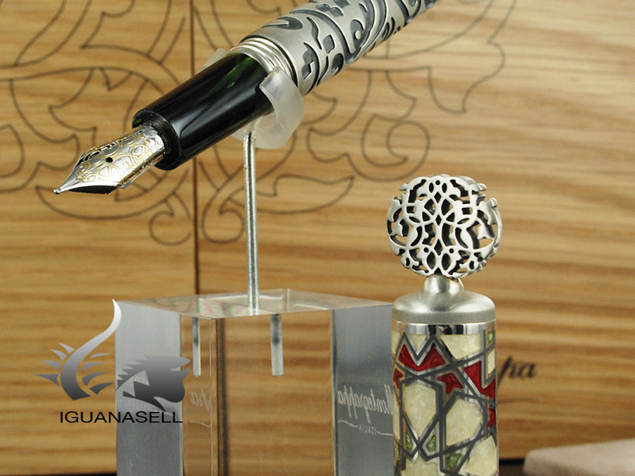 Montegrappa Calligraphy Limited Ed Fountain Pen, Celluloid, .925 silver