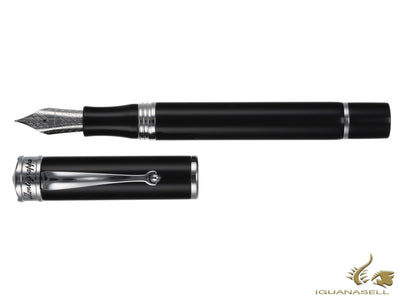 Montegrappa Ducale Fountain Pen, Black Resin, Rhodium Trim, ISDUR-PC