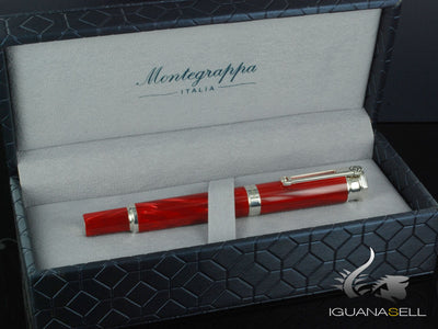 Montegrappa Emozione Fountain Pen, Celluloid, Red .925 silver trim