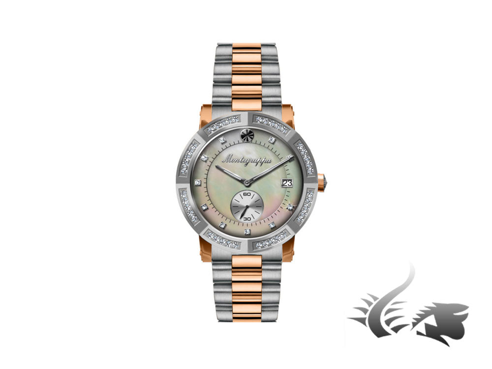 Montegrappa Nero Uno Ladies Quartz watch, Mother of pearl, Diamonds, 36mm, 5 atm