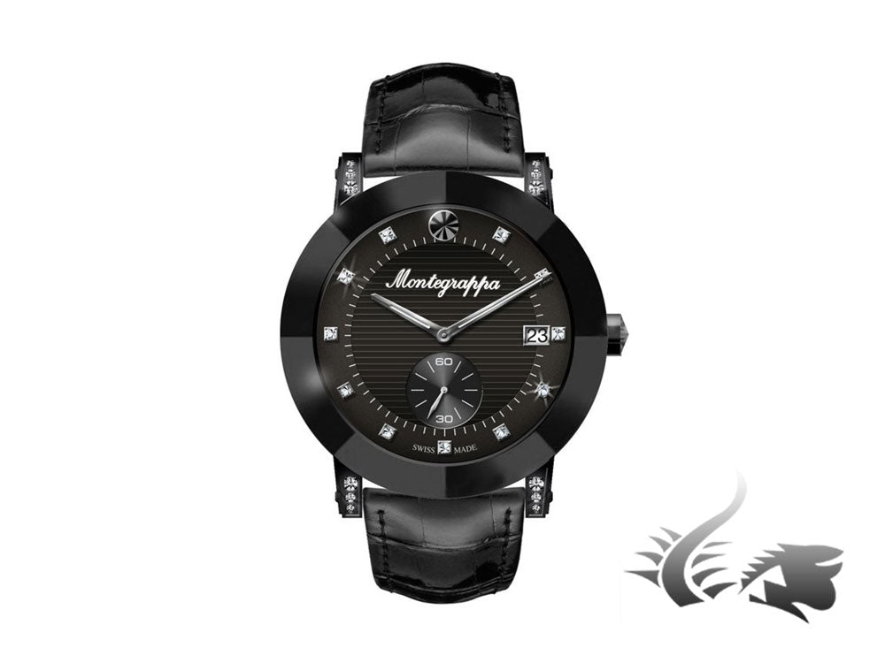 Montegrappa Nero Uno Ladies Quartz watch, Black PVD, Diamonds, 36mm, IDLNWA23