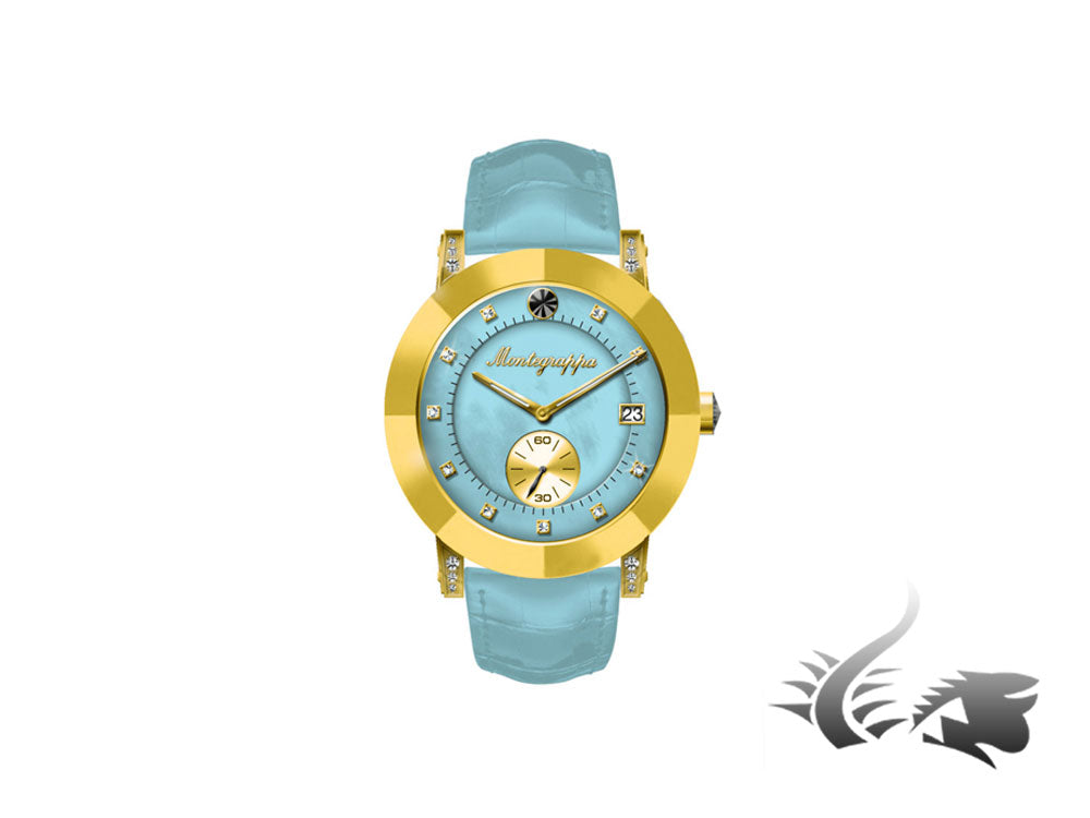 Montegrappa Nero Uno Ladies Quartz watch, Gold PVD, Blue mother of pearl, 36mm