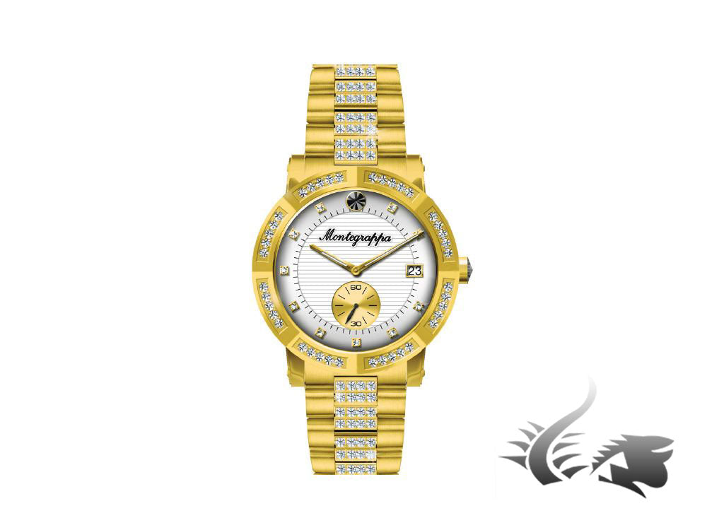 Montegrappa Nero Uno Ladies Quartz watch, Gold PVD, Diamonds, 36mm, IDLNWA75Y
