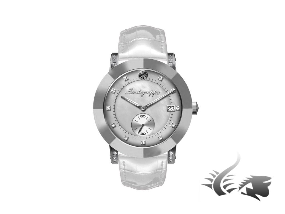 Montegrappa Nero Uno Ladies Quartz watch, Mother of pearl, Diamanten, Silver