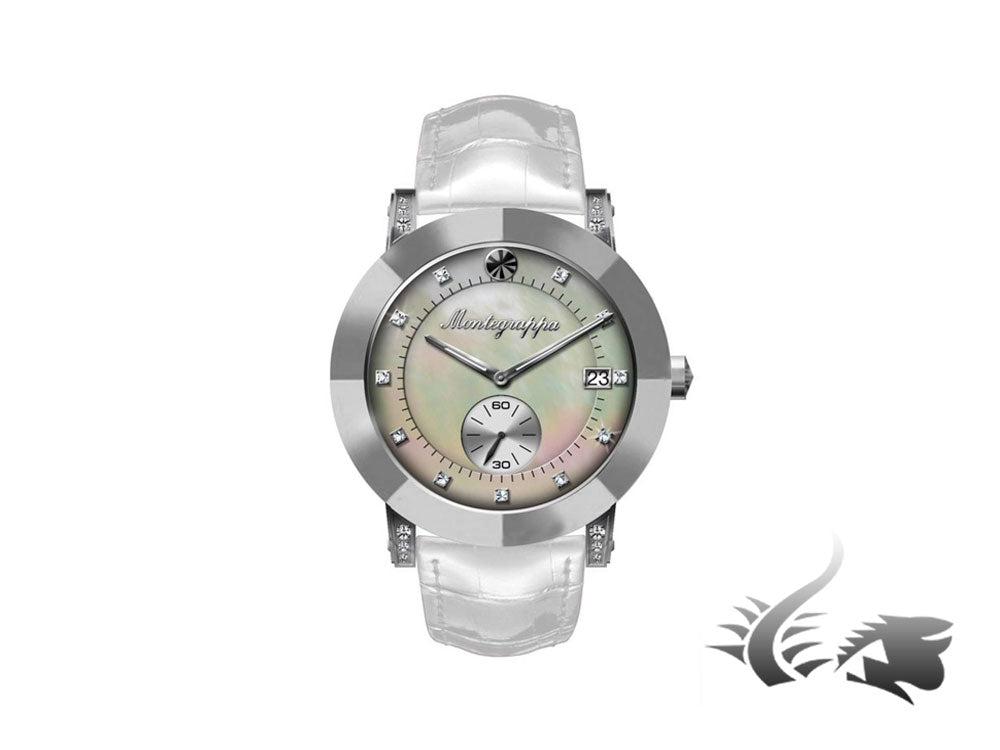 Montegrappa Nero Uno Ladies Quartz watch, Mother of pearl, Diamonds, White strap
