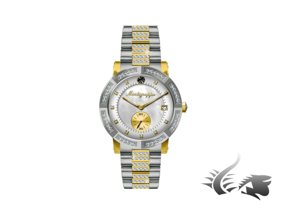 Montegrappa Nero Uno Ladies Quartz watch, Mother of pearl, Gold, IDLNWA83-Y