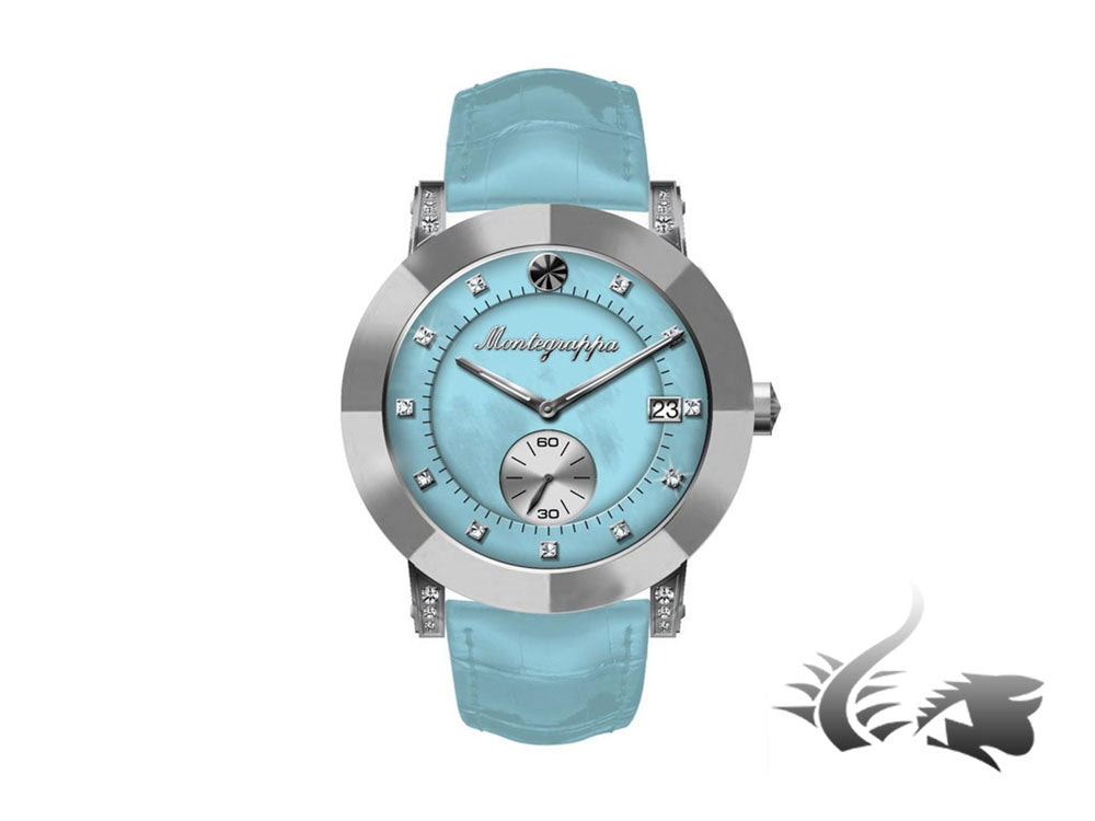 Montegrappa Nero Uno Ladies Quartz watch, Mother of pearl blue, Diamonds, 36mm