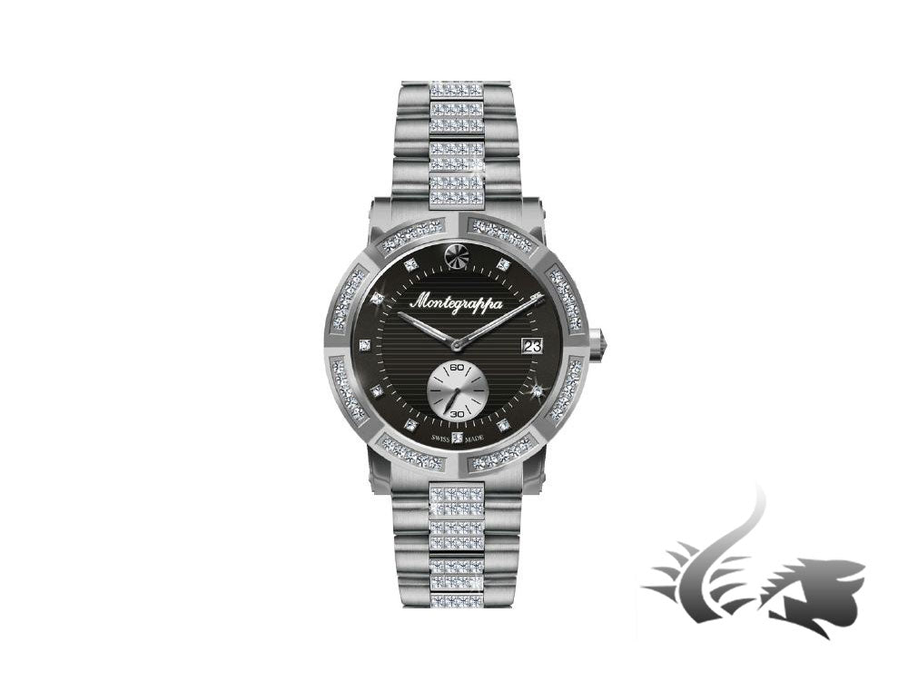 Montegrappa Nero Uno Ladies Quartz watch, Stainless steel, Diamonds, IDLNWA72