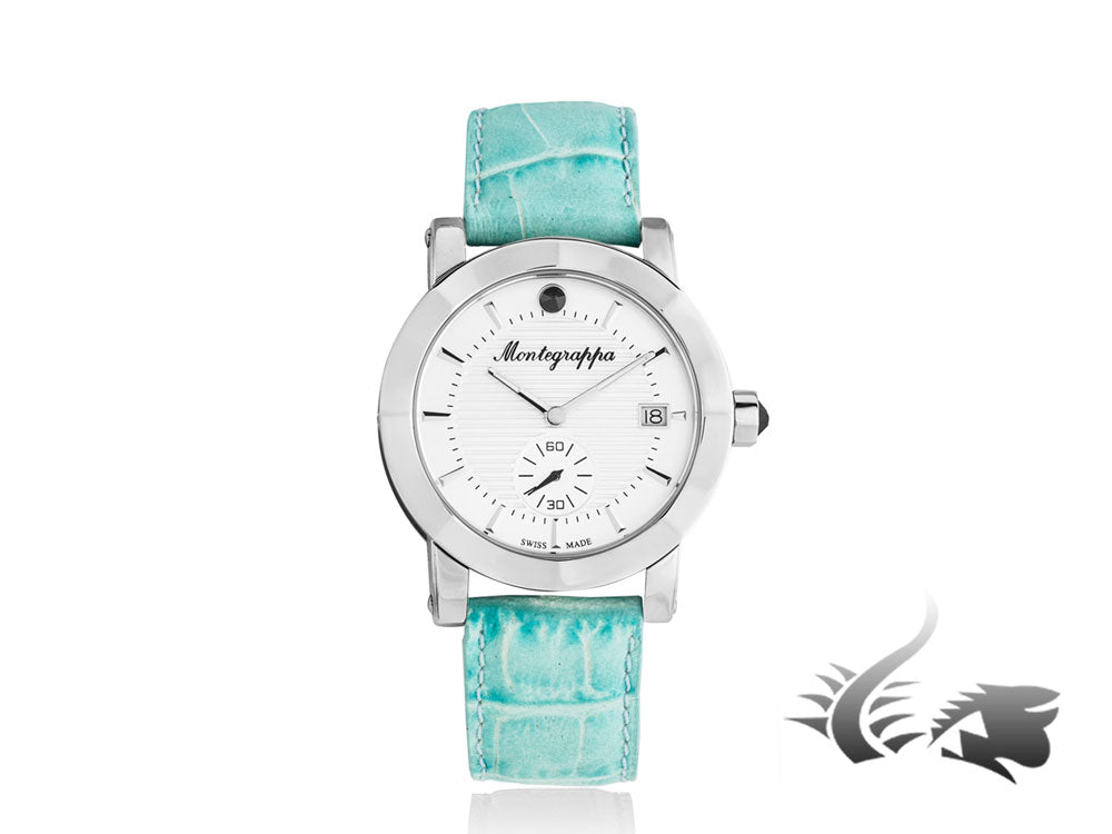 Montegrappa Nero Uno Ladies Quartz watch, White, 36mm, Blue strap, IDLNWA05