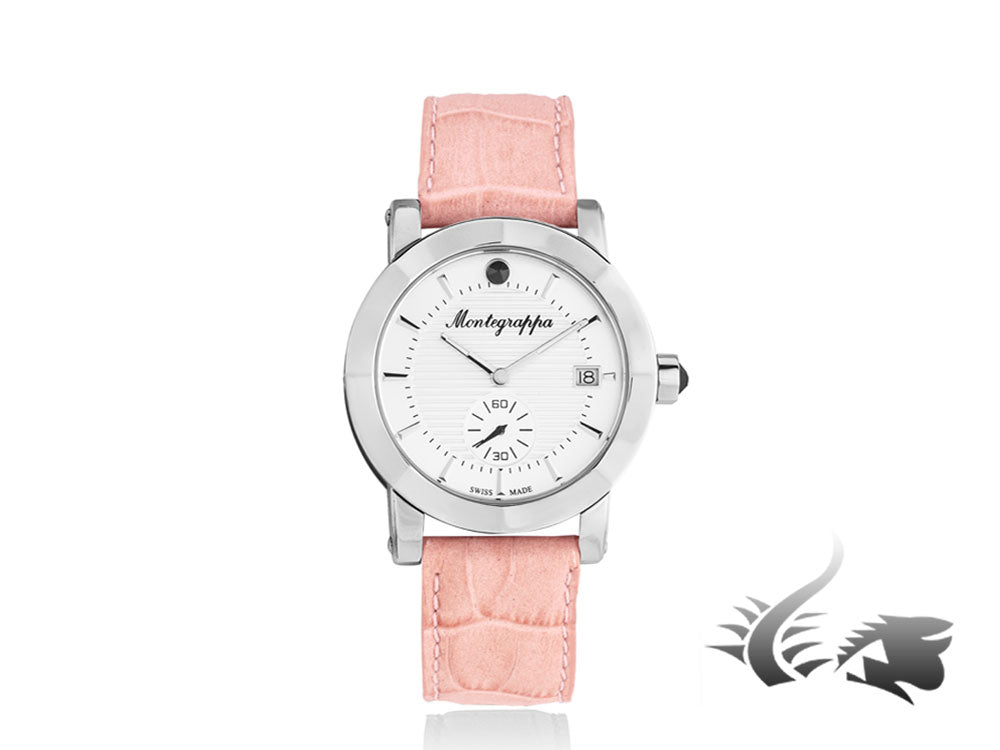 Montegrappa Nero Uno Ladies Quartz watch, White, Leather strap, 36mm, IDLNWA06