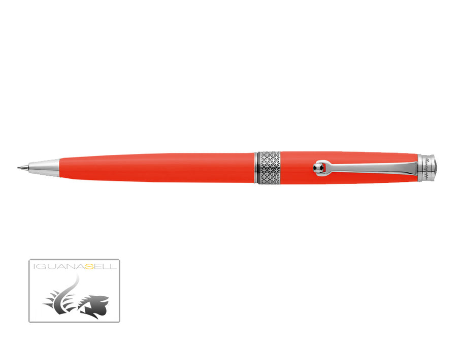 Montegrappa Piacere Mechanical pencil, Resin, Neon Carrot, Chrome trim, ISPYRQBO