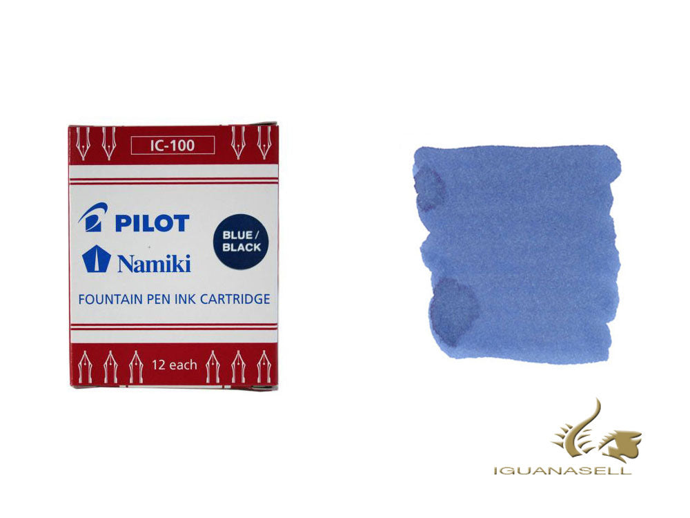 Namiki Ink cartridges, Blue/Black, 12 units, IC-100-blue-black