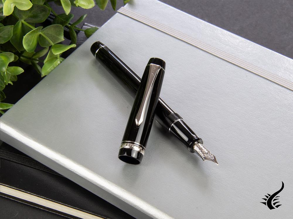 Pilot Custom Heritage 91 Fountain Pen, Resin, Chrome, Black, NH91N