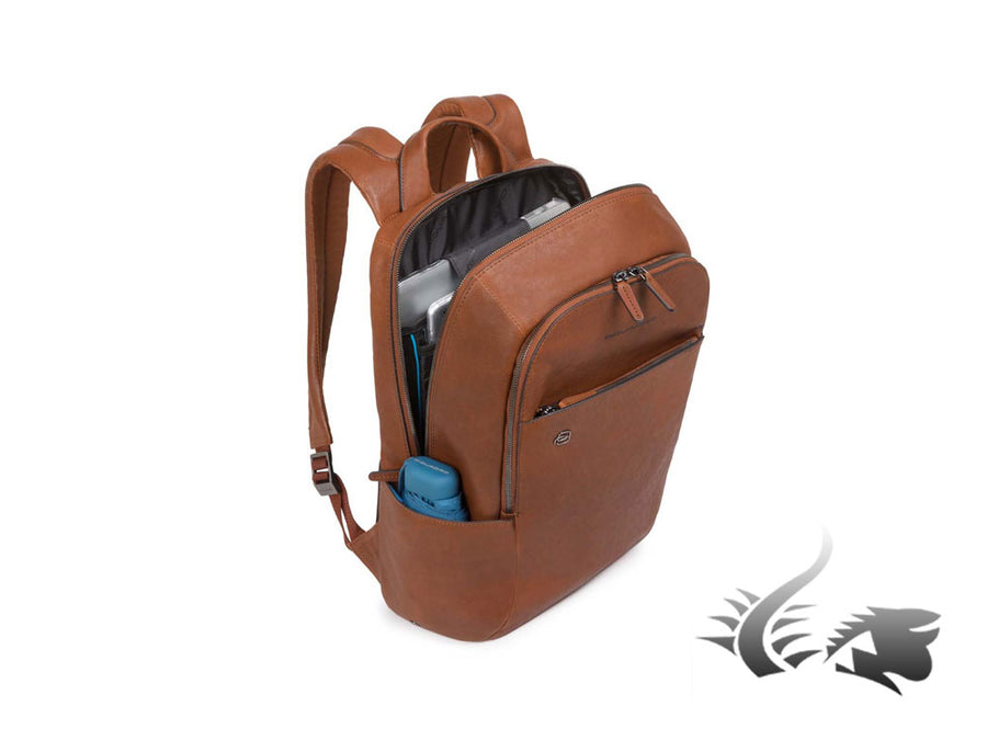 Piquadro Black Square Backpack, Leather, Brown, 2 Dividers, Laptop compartment