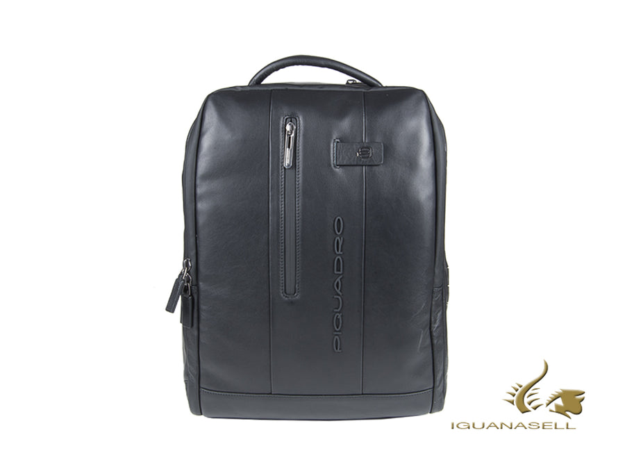 Piquadro Urban Backpack, Leather, Black, Zip, Laptop compartment, CA4818UB00/N